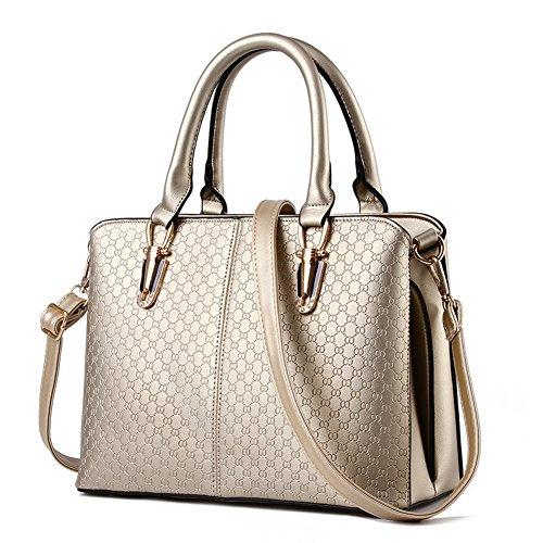 fanhappygo Fashion Damen Schulterbeutel Retro Leder Kreuz Taschen Clutch Abendtaschen Umhängetaschen gold