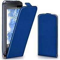 HTC One M7 Hülle Blau [OneFlow 360° Klapp-Hülle] Etui thin Handytasche Dünn Handyhülle für HTC One M7 Case Flip Cover Schutzhülle Kunst-Leder Tasche