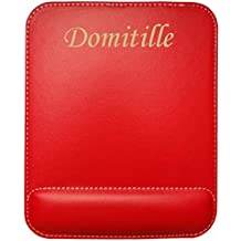 Tapis de souris en cuir artificiel avec le texte: Domitille (Noms/Prénoms)