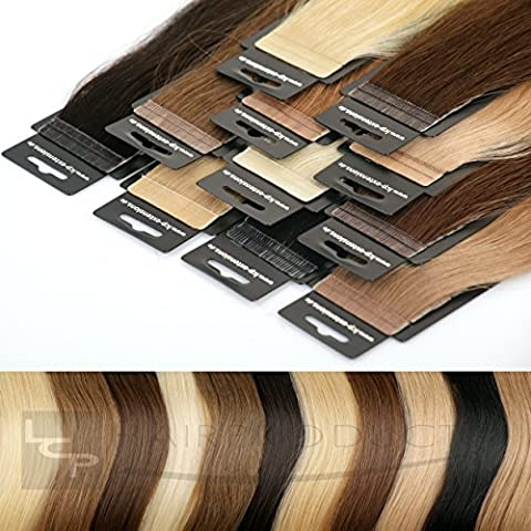 LCP Tape In Extensions Virgin Remy Echthaar 60 cm Länge Haarverlängerung 10 Tressen x 4 cm Breite - Farbe #1 schwarz
