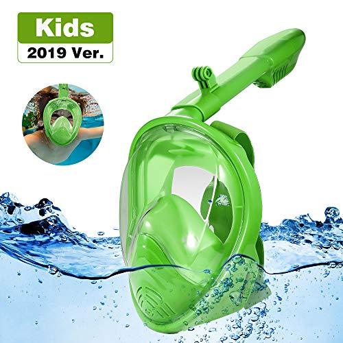 Jiqu Masque de Plongée, Masque Snorkeling Plein Visage 180° Visible, Antibuée Anti-Fuite sous-Marine, Snorkel Masque avec la Support pour Caméra de Sport, Adapté pour Enfant