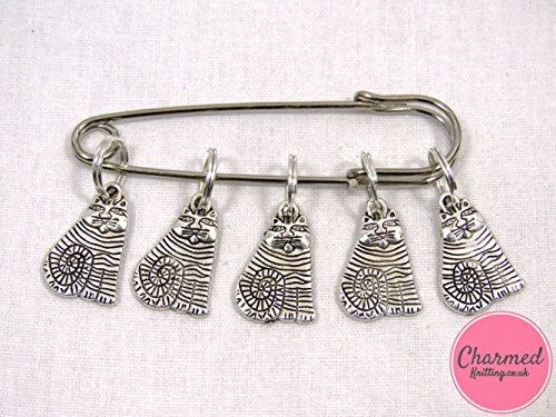Tabby Cats - Silver Knitting Stitch Markers by Charmed Knitting