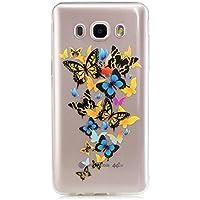 Samsung Galaxy J5(2016)J510 Funda,LTWS Funda Case Cover TPU Silicona Gel Goma flexible Suave Carcasa Caso Transparente delgado Con impresión Patrón Anti-golpe Resistente a los Aranazos - mariposa