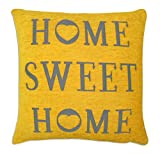 Home Sweet Home Square Cushion Cover Grey / Yellow Chenille 43x43cms