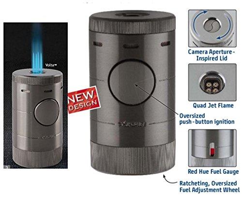 Xikar Tischfeuerzeug Volta Quad Jet-Flamme gun inkl. Lifestyle-Ambiente Tastingbogen