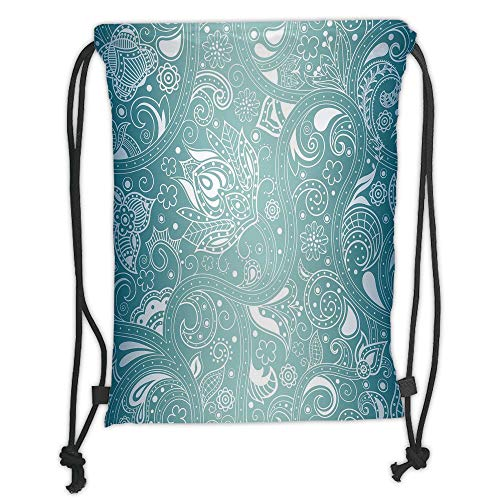 Trsdshorts Drawstring Backpacks Bags,Aqua,Vintage Abstract Retro Design with Indian Ethnic Floral Leaf Details Print,Petrol Blue and White Soft Satin,5 Liter Capacity,Adjustable String Closur -