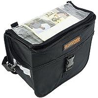 Lenker-Packtasche mit Kartenfach und Regenüberzug in Signalfarbe Schwarz