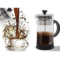 French Press Café, thé et machine à espresso–Nettoyage facile, système de filtre de qualité, en verre et acier inoxydable, résistant à la chaleur Pot et portable (963,9gram) 4tasses/1litre/963,9gram