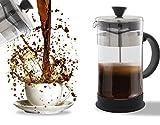 Cafetière à piston, café et thé-Nettoyage facile, système de filtre de qualité, en verre et en acier inoxydable, résistant à la chaleur, portable 4tasses/1l