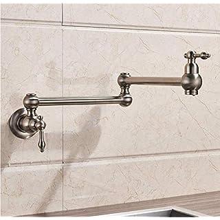 wffmx Gebürstetes Nickel-Einhand-Badezimmer-Küchen-Hahn EIN Loch-Kaltes Wasser, Das Waschbecken-Hähne Faltet