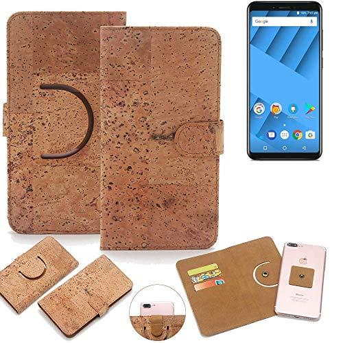 K-S-Trade Schutz Hülle für Vernee M6 Handyhülle Kork Handy Tasche Korkhülle Schutzhülle Handytasche Wallet Case Walletcase Flip Cover Smartphone Handyhülle