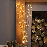 strombetriebene, beleuchtete, Herbst/Winter-Deko, 5 Zweige Weide Gold, 90cm, mit 50 LEDs in warmweiß (Gold)