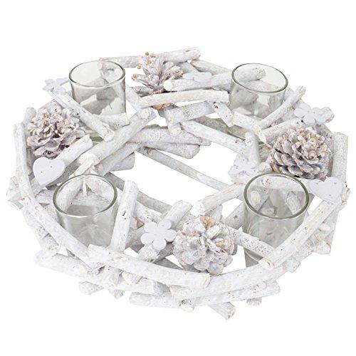 Mendler Adventskranz rund mit Teelichthaltern, Weihnachtsdeko Adventsgesteck, Holz Ø 30cm weiß-grau