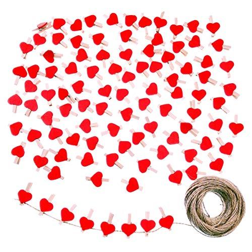JZK 100 x Rot Herz Holz Wäscheklammer 3cm + Jute Twine 30m für die HochzeitParty Fotohalterkarte Dekoration und Basteln