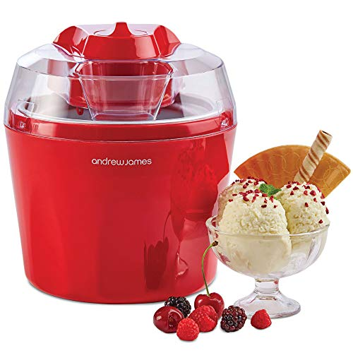 "Andrew James Ice Cream Maker Machine with Detachable Mixing Paddle 1.5L | Makes Gelato Frozen Yoghurt & Sorbet Machine | Voted""Best Buy"" by Which? Magazine"