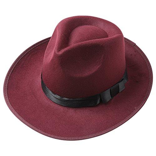 Mafia Gangster Herren Filz Fedora Trilby Bogart Hut 1920 Stil Gatsby Kostüm Accessoires (Weinrot) (60's Inspiriert Halloween Kostüme)