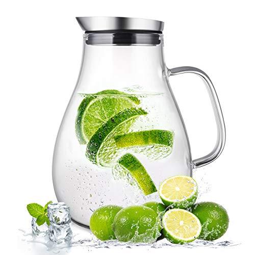 susteas 2 Liter 70 Unzen Glas Karaffe Krug mit Deckel und Auslauf, Wasserkaraffe, Eistee Krug, Saft Krug, für hausgemachte Getränke/Eistee/Milch/Kaffee/Wein
