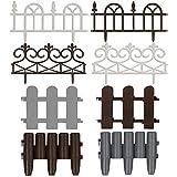 Rasenkante Palisade Beeteinfassung Mähkante | Holz - Optik | 28 x 23 cm | grau | 4er Set | Modell- und Farbwahl