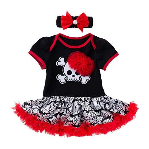 Romantic Kinder Baby Mädchen Kurzarm Halloween Kostüme Schädel Gedruckt Falten Strampler Tutu Kleid Mädchen Schädelkostüm mit Bowknot Haarreif Verkleiden - Süßeste Kostüm Für Hunde