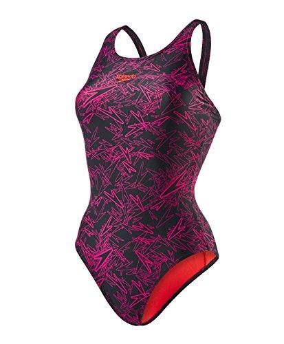 Speedo Boom Allover, Bañador para Mujer, multicolor Negro/Blanco Lava Red Liner And Branding, talla...