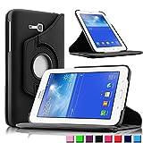 Infiland Samsung Galaxy Tab 3 7.0 Lite Funda Case-PU Cuero 360°Rotación Smart Cover Cascara con Soporte para Samsung Galaxy Tab 3 7.0 Lite T110 T111 (7 Pulgadas) Tablet(Negro)