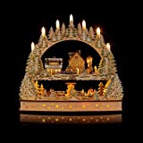 Großer 3D Schwibbogen Winterlandschft mit LED-Beleuchtung, drehender Pyramide und Timer - Hochwertig und detailreich verarbeitet – Weihnachtsdekoration (Silber)