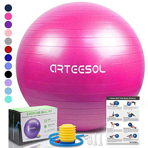 arteesol Yoga-Ball, extra dick, Stabilität Balance Ball (45-85 cm), Profiqualität, Anti-Burst- und rutschfest, Balance, Fitness- und Physiotherapie, Geburtsball mit Luftpumpe, Rose, 85 cm