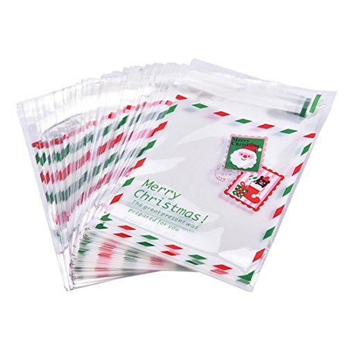 Wovelot 100pz sacchetti di caramelle sacchetto di bustina carino modello di babbo natale sacchetto di bustina per dolci caramelle al cioccolato caramelle sacchetti regalo matrimonio