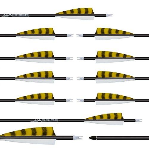 12 Stück Gold Tip Warrior Carbonpfeile Spine 500 mit 4