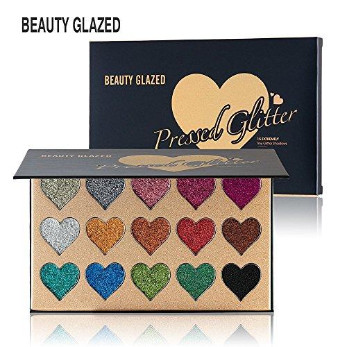 Beauty Glazed Professional Herz Makeup Palette 15 Farben Glitzer Powder Langlebig & Schimmer Lidschatten Palette - Augen Makeup Glitter Hoch Pigmentiert Mineral Pressed Glitter (Gedrückt Glitter Lidschatten)