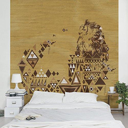 Apalis Vliestapete nummer MW17 Indianische Eule Fototapete Quadrat   Vlies Tapete Wandtapete Wandbild Foto 3D Fototapete für Schlafzimmer Wohnzimmer Küche   Größe: 240x240 cm, braun, 95413