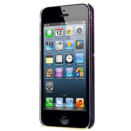 Coque iPhone SE, Etui iPhone 5S, Housse iPhone 5 Marbre GrandEver Housse Hard Rigide Back Cover pour Apple iPhone SE 5S 5 Marble Blanche Grain Noir Motif Etui de Protection Plastique Case Cas Couvertu Violet