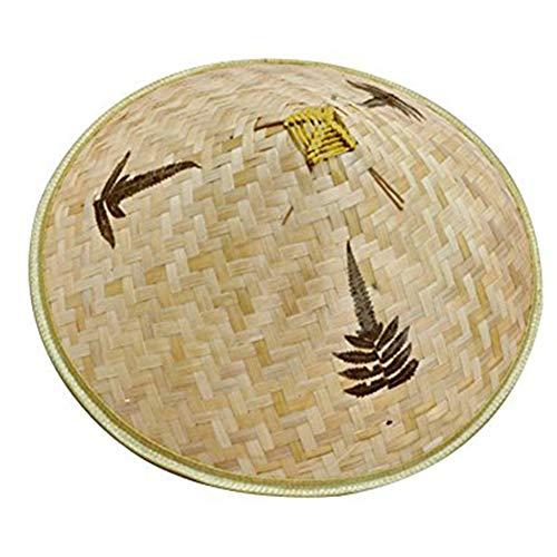 ischer Bambus Rattan Fischer-Hut handgemachte Webart-Wannen-Hut Natürliches aushöhlen Lattice Bambus-Flechten-Kappe ()
