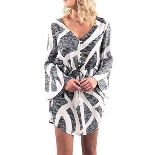 Kostüm Elegante Dama Xxl (LSAltd Damen elegante V-Ausschnitt Strings Rock lange Ärmel Party Mini Kleid (Schwarz,)