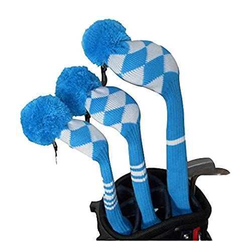Vintage Blue/white Argyle Style Golf Pom Pom Headcovers Set of 3 for Driver Wood(460cc),fairway Wood, and Hybrid with Number Tag #1#3#5, , Good Looking, Washable, Anti-wrinkle Anti-pilling, Soft Acrylic Yarn Knitted