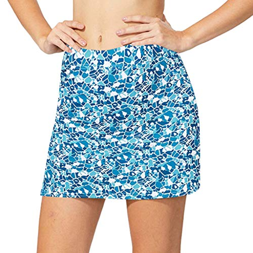 Lazzboy Women's Skirt Running Tennis Golf Workout Sports Badeanzug Badehose Damen Hipster Bikini-Hose Mit Raffungen Unifarben Bikinihose High Waist Ruched Tankinihose(Blau,XL) Racing Sport Infant Bodysuit