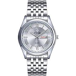 Herren Luxus Top Marke Uhr Datum Tag Edelstahl Luminous Stunde Uhr Herren Casual Kleid Quarz Armbanduhr Sport wristwatch-white