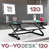 Yo-Yo DESK 120 (Schwarz) | Steh Sitz Schreibtisch Aufsatz. Höhenverstellbarer Schreibtisch (120 cm breit) für Ihren gesunden und produktiven Steharbeitsplatz