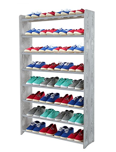 Schuhregal Schuhschrank Schuhe Schuhständer RBS-8-90 (Seiten hellgrau, Stangen in der Farbe grau)
