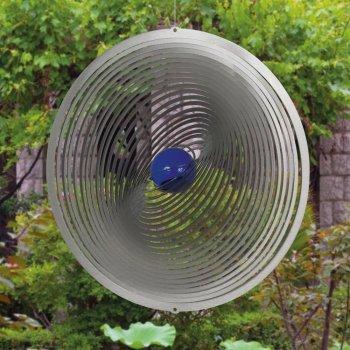Edelstahl Windspiel - STRUDEL 300 - lichtreflektierend - Durchmesser: 30cm - inkl. Aufhängung und Glaskugel - 2
