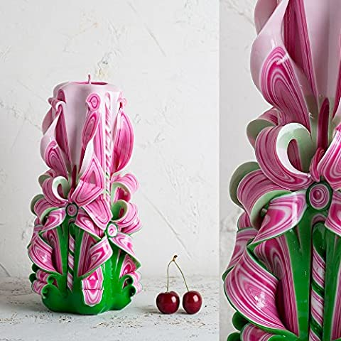 Make your own carved candles - Summer gift - Pink candle - Green candle - handmade EveCandles