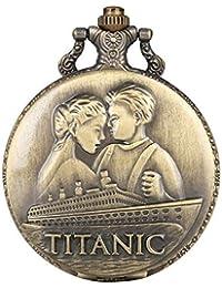 Taschenuhr für Herren, bronzefarben, große Quarz-Taschenuhr, kreatives Titanik-Muster, langlebige Legierung