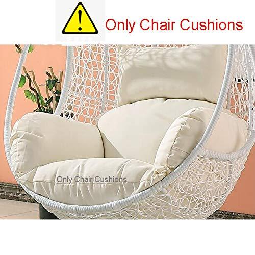 SQINAA Hängende Ei hängematte Stuhl Kissen ohne Stehen,Schaukel sitzkissen dick Nest hängesessel mit Kissen-weiß-Weiß (Was Ist Chat)