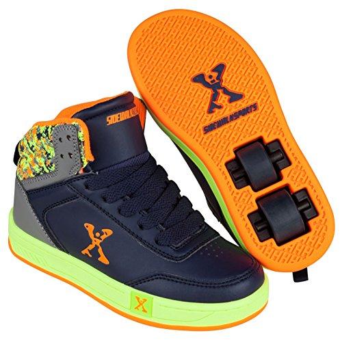 Lime Leder Skate Schuhe (Sidewalk Sport Kinder Jungen Hi Top Schuhe Mit Rollen Rollschuhe Heelys Navy/Lime 3 (36))