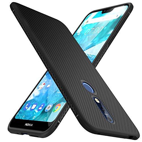 iBetter Nokia 7.1 Hülle, Ultra Thin Tasche Cover TPU Silikon Handyhülle Stoßfest Case Schutzhülle Shock Absorption Backcover Hüllen für Nokia 7.1 Smartphone (Schwarz)