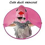 MEIbax Kinder Gelbe Ente UFO Headwear Regenmantel Kinder Regenmantel Kinder Regen Poncho Portable Hände Frei PEVA Wasserdichte Mantel Regenschirm (L, Pink)
