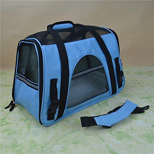 Imagen para XIERU Perros Caja para el Transporte Bolsa de Transporte Mochila del Perro Transportín Plegable para Perros pequeños Tamaño del Producto L 48cm * 25cm * 33cm -Azul Cielo L