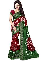 Vinayak Textiles Women's Cotton Jacquard Saree (VTBNDP3005-7_Mehandi & Maroon_Free Size)