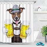 Animal Shower Curtain Cane Oktoberfest con due boccali di birra, sorridente felice Tessuto in poliestere decorato Tende da bagno Impermeabile Anti-muffa Arredo bagno Accessori per la casa con 12 ganci per tende 180x200cm