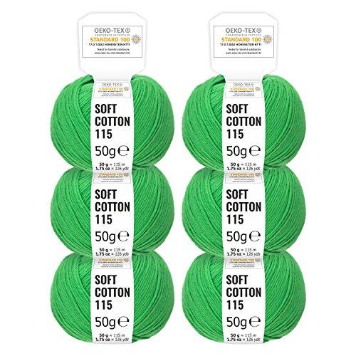 100% Baumwolle in Uni 14 Farben - 300g Set (6 x 50g) - Oeko-Tex 100 zertifizierte Wolle zum Stricken & Häkeln by Hansa-Farm - Grün -
